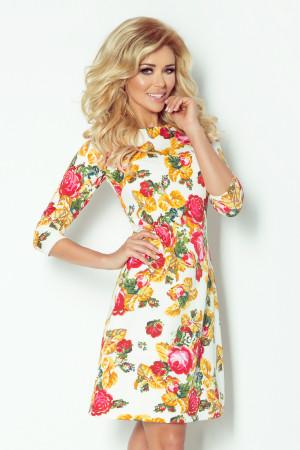 Dámské společenské šaty BLOSSOM s květovaným motivem krátké květované - Květovaná / L - Numoco smetanová