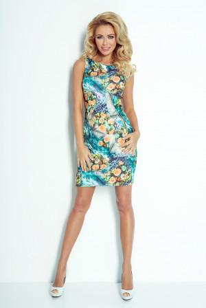 Dámské šaty ART zdobené květováním bez rukávů květované - Květovaná / XL - Numoco květinový print