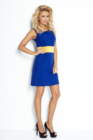 Dámské šaty BEE se žlutým pruhem v pase krátké modré - Modrá / XL - Numoco tm.modrá-žlutá