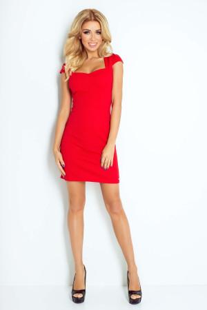 Dámské společenské a casual šaty s krátkým rukávem červené - Červená / XL - Numoco červená