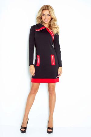 Dámské šaty značkové ZIPPY moderní se třemi zipy černé-2 - Černá / XXL - Numoco černá s červenou
