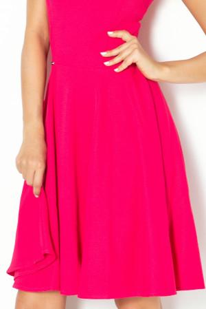 Společenské šaty luxusní s kolovou sukní středně dlouhé malinové - Malinová / S - Numoco růžová