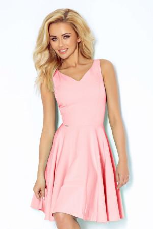 Společenské šaty luxusní s kolovou sukní středně dlouhé růžové - Růžová / XL - Numoco sv.růžová