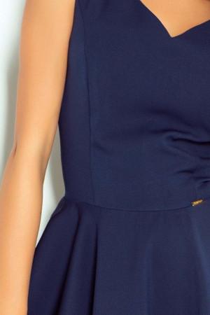 Společenské šaty luxusní s kolovou sukní středně dlouhé tmavě modré - Tmavě modrá / XL - Numoco tm.modrá