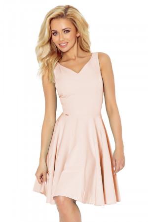 Společenské šaty luxusní s kolovou sukní středně dlouhé světle růžová - Růžová / XL - Numoco světle růžová