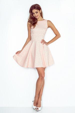 Společenské a plesové exkluzivní šaty s kolovou sukní broskvové - Broskvová / XL - Numoco broskvová