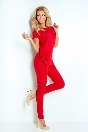 Dámský elegantní overal s krátkým rukávem na zavazování v pase červený - Červená / M - Numoco červená