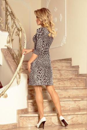 Dámské šaty s 3/4 rukávem a hadím vzorem středně dlouhé šedé - Barevná / XL - Numoco gepard
