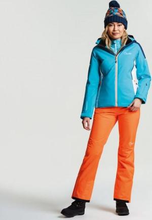 Dámská lyžařská bunda DWP385 CONTRIVE - DARE2B bílá-tyrkysová 40/L