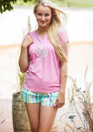 Dámské pyžamo Key LNS 453 1 A21 S-XL růžová-káry