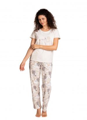 Dámské pyžamo Lama L-1395 PY kr/r S-XL béžová žíhaná
