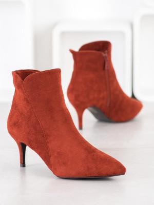 Trendy  kotníčkové boty dámské hnědé na jehlovém podpatku