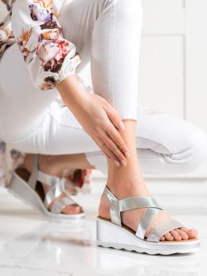 Originální  sandály šedo-stříbrné dámské na klínku