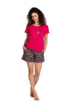 Dámské pyžamo L-1390PY malinová/černá