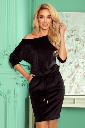 Černé velurové dámské sportovní šaty se zavazováním a kapsičkami 13-129