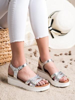 Komfortní šedo-stříbrné dámské  sandály bez podpatku