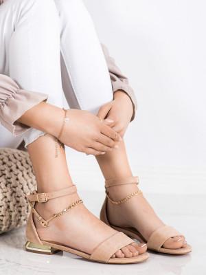 Stylové  sandály dámské hnědé na plochém podpatku