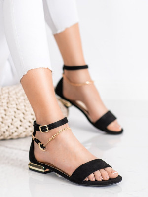 Jedinečné černé dámské  sandály na plochém podpatku
