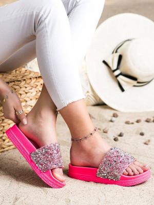 Módní  nazouváky dámské růžové bez podpatku