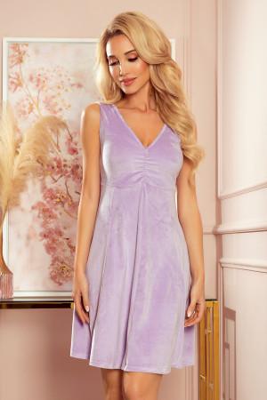 BETTY - Rozšířené dámské velurové šaty ve vřesové barvě s dekoltem 238-3