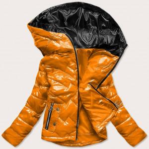 Žlutá prošívaná dámská bunda s kapucí (B9541) žlutá S (36)
