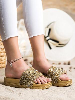 Praktické  nazouváky zlaté dámské bez podpatku