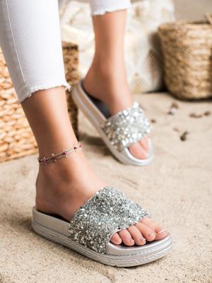 Designové šedo-stříbrné dámské  nazouváky bez podpatku