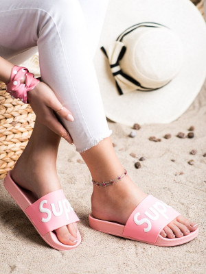 Exkluzívní  nazouváky dámské růžové bez podpatku