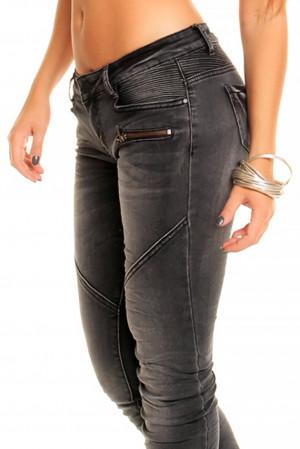 Dámské džíny značkové elastické REDIAL 2055-1 DG zdobené prošíváním a zipem na nohavici dlouhé tmavě šedé - Tmavě šedá / XS - REDIAL