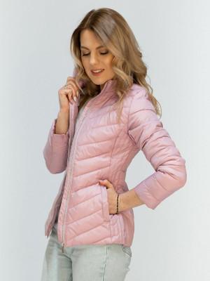 Pudrově růžová bunda se skrytou kapucí (W80) růžový S (36)