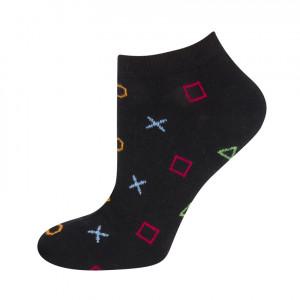 Vzorované ponožky GOOD STUFF - geometrické postavy Černá 40–45