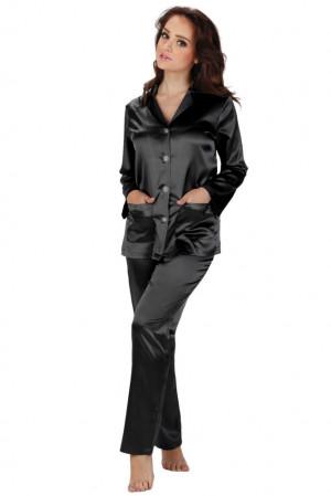 Dámské saténové pyžamo Classic dlouhé černé černá
