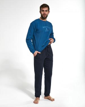 Pánské pyžamo 322/162 WAKE UP - Cornette tm. modrá s modrou