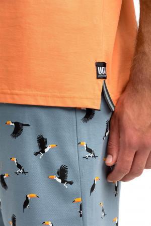 Pánské pyžamo s krátkým rukávem Tukan Vamp 14730 oranžová-tmavě šedá