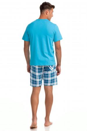 Pohodlné dvoudílné pánské pyžamo 14781 tyrkys