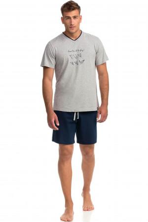 Pohodlné dvoudílné pánské pyžamo 14750 šedá