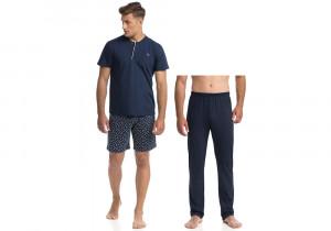 Pohodlné třídílné pánské pyžamo (3PCS) 14745 - 253 tmavě modrá
