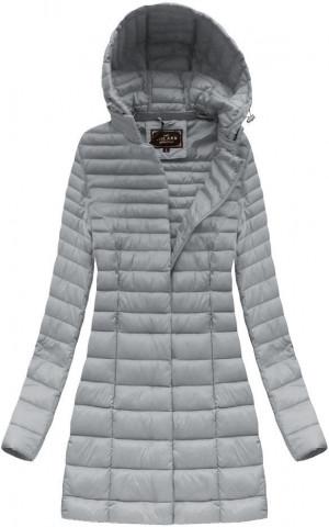Delší šedá prošívaná bunda s kapucí (7240) Šedá S (36)