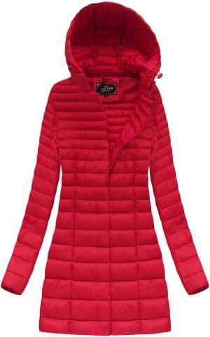 Delší červená prošívaná bunda s kapucí (7240) Červené S (36)