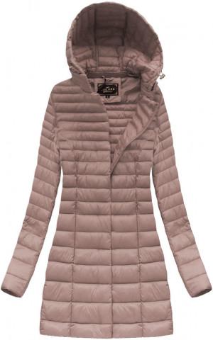 Delší prošívaná bunda ve starorůžové barvě s kapucí (7240) růžový S (36)