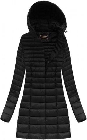 Černá delší prošívaná bunda s kapucí (7240) Černá S (36)