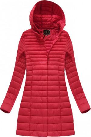 Delší červená prošívaná bunda s kapucí (7240BIG) Červené