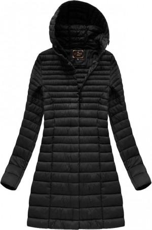 Delší černá prošívaná bunda s kapucí (7240BIG) Černá