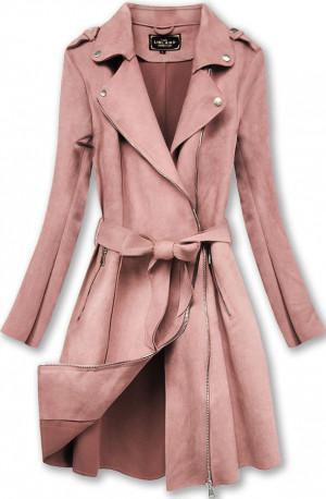 Semišový kabát ve starorůžové barvě (6004) růžový S (36)