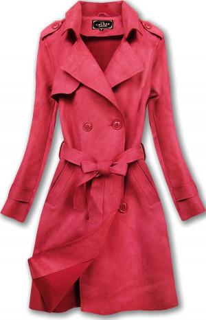 Červený dvouřadový semišový kabát (6003) Červené S (36)