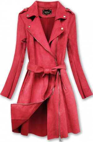 Červený semišový kabát (6004BIG) Červené