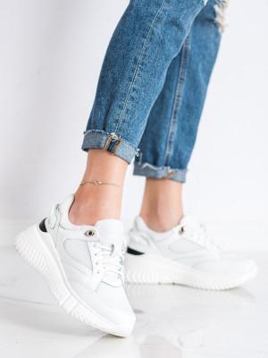 Designové  tenisky bílé dámské bez podpatku