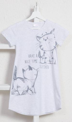 Dětská noční košile s krátkým rukávem Kočky - Vienetta šedá s potiskem 3-4
