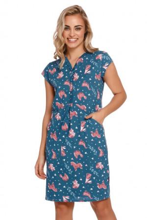 Dámská noční košile Lesley modrá se zvířaty modrá