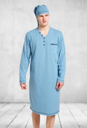 Pánská noční košile 358 Bonifacy - M-Max světle šedá